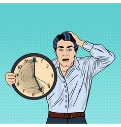 Stressed pop art business man with big clock vector