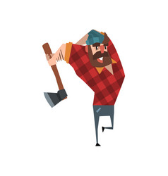Strong woodcutter swinging an ax bearded vector