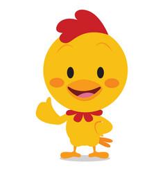 Sweet yellow chicken art vector