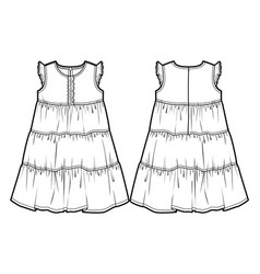 tech sketch of a summer dress vector image vector image