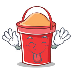 tongue out bucket character cartoon style vector image