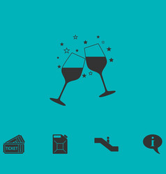 Two glasses of champagne icon flat vector