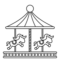 Vintage carousel with horses icon outline style vector image
