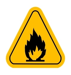 Warning icons in yellow triangle fire dangerous vector
