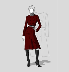 Woman in long maroon coat vector