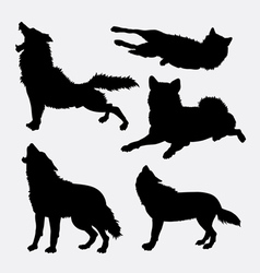 Wolf wild animal silhouette vector