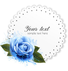 Holiday background with blue flower and gift card vector image