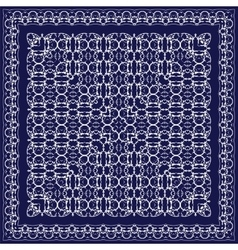 Blue scarf with white pattern vector