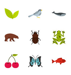 animal and floral elements icons set flat style vector image