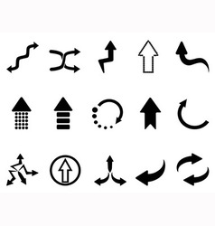 black arrow icons set vector image