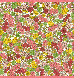 Seamless pattern flower and leaf green pink yellow vector