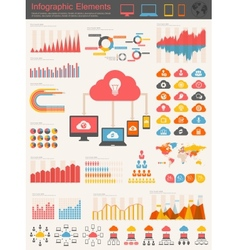 Cloud service infographic elements vector