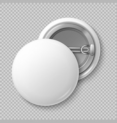 White blank badging round button badge isolated vector