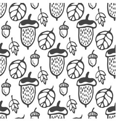 Seamless pattern with acorns and leaves hand vector