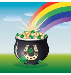 Landscape with pot of gold vector