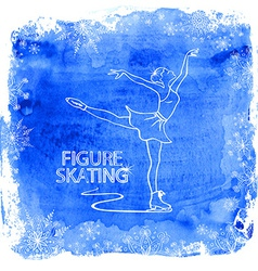 Figure skater girl on a watercolor background vector