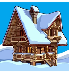 Wooden house standing in the snow vector