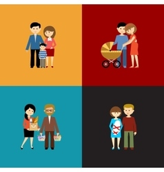 Flat set of family life vector image