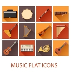Set of flat music icons vector
