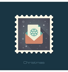 Christmas letter flat stamp vector
