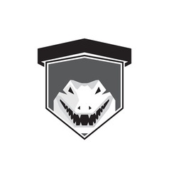 Alligator head shield black and white vector