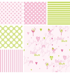 Baby shower seamless patterns - swatches vector