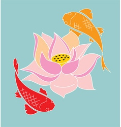 Koi and lotus vector