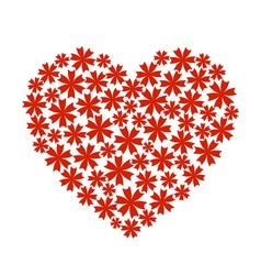 Red heart flower bouquet icon vector