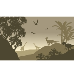 Scenery dinosaur of silhouette vector image