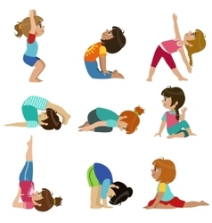Little girls doing yoga set vector
