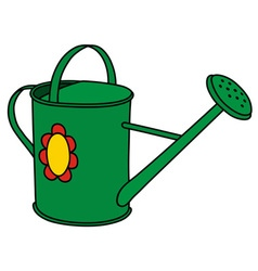 Green watering can vector