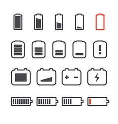 Different accumulator status icons minimalism conc vector
