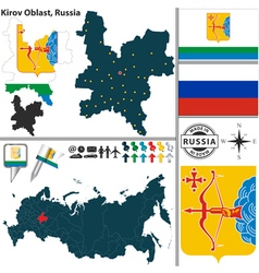 Map of Oblast of Kirov vector image