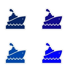 Assembly realistic sticker design on paper ship vector