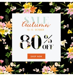 Autumn sale hortensia banner - for discount poster vector