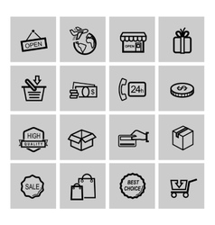 black shopping icons vector image vector image