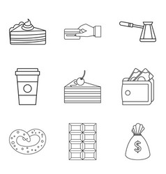 candy shop icon set outline style vector image