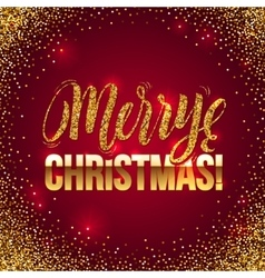 Christmas card Gold sparkles on Red background vector image