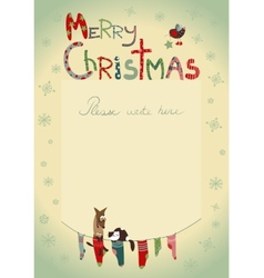 Christmas greeting card with socks for gifts vector image