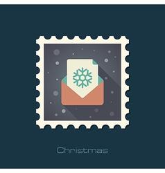 Christmas letter flat stamp vector