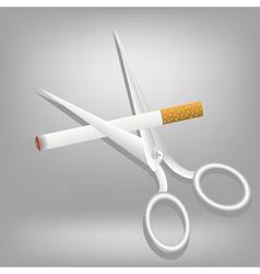 cigarette and scissors vector image