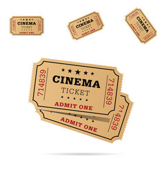 Cinema ticket movie entertainment set vector
