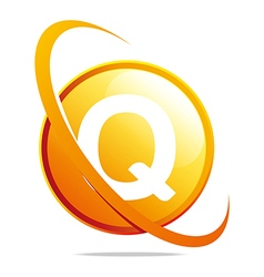 circle globe round letter q orange abstract vector image
