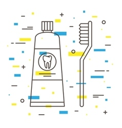 Dental toothbrush with toothpaste tube linear vector image