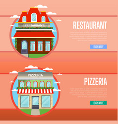 Facade of pizzeria and restaurant banner set vector