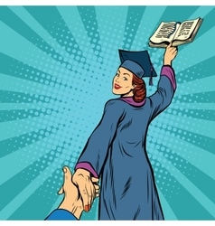Follow me a woman student graduate knowledge vector