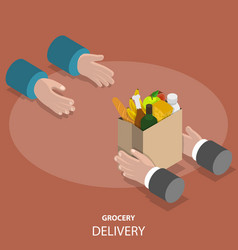 Grocery fast delivery flat isometric concept vector
