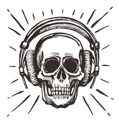 human skull listening music vector image