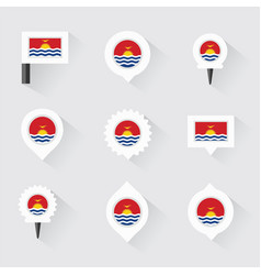 Kiribati flag and pins for infographic and map vector