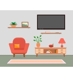living room interior with armchair and furniture vector image